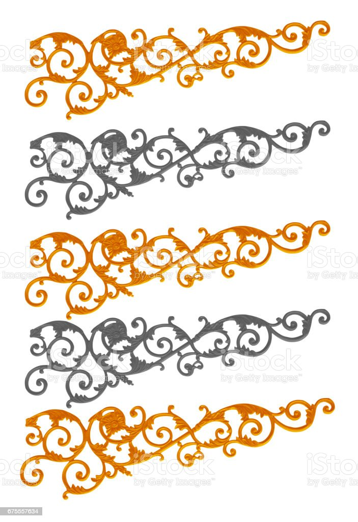 Ornament elements frame, vintage gold floral designs stock photo