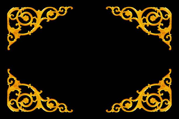 éléments de décoration vintage design floral or - motif ornemental photos et images de collection