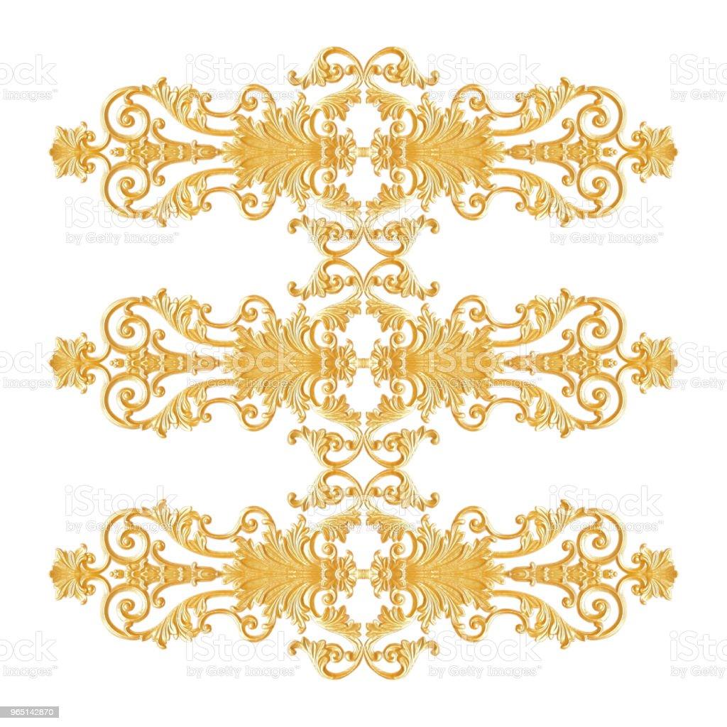 Ornament elements, vintage gold floral designs zbiór zdjęć royalty-free