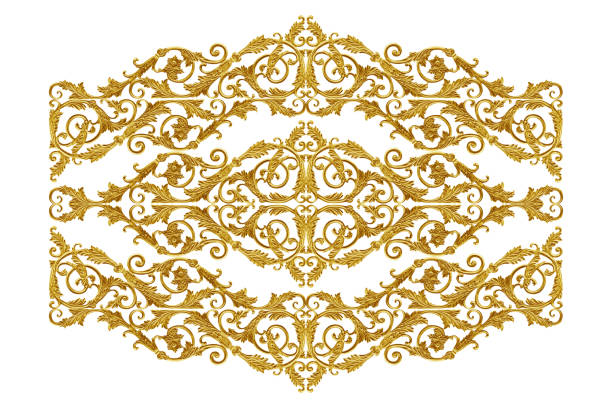 ornament elements vintage gold floral for decoration - filigree stock photos and pictures