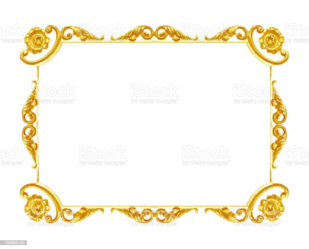 Ornament Elements Vintage Gold Frame Floral Designs Stock Photo