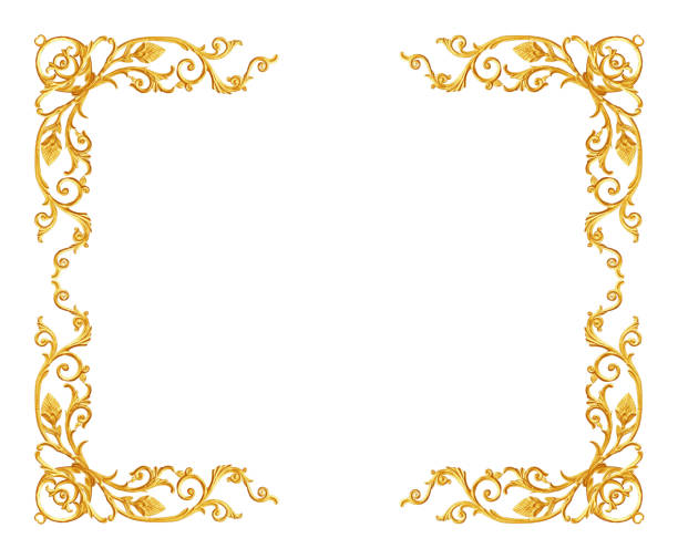 ornament elements, vintage gold frame floral designs - scroll stock photos and pictures