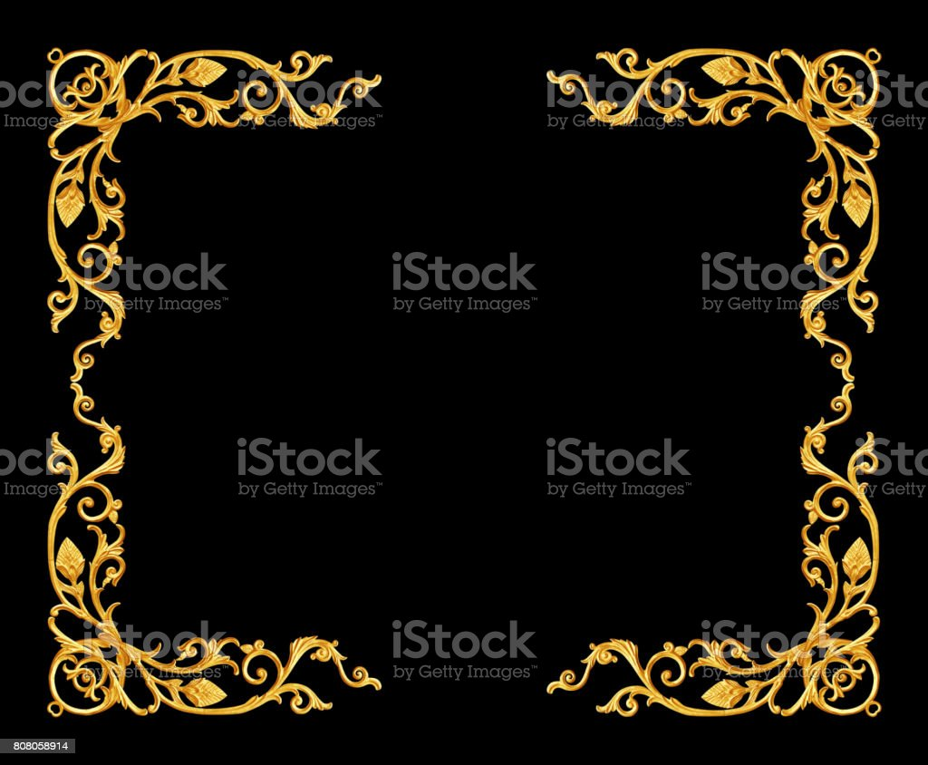 Ornament elements, vintage gold frame floral designs stock photo