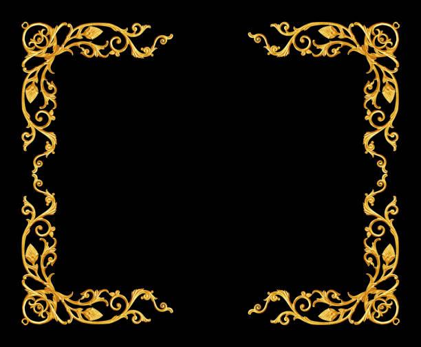 éléments d'ornement, motifs floraux cadre or vintage - motif ornemental photos et images de collection