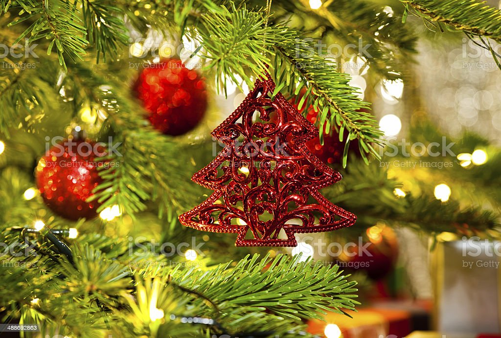 Ornament In A Real Christmas Tree Stock Photo Download Image Now Istock