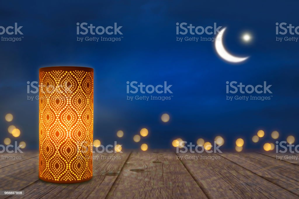 ornament lantern in moonlight stock photo