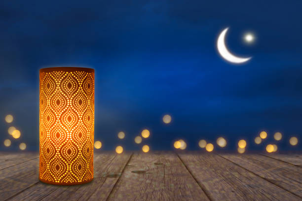 ornament lantern in moonlight - eid stock pictures, royalty-free photos & images