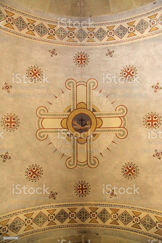 Ornamental fresco ceiling in the Chapel of Moses, Israel stock photo