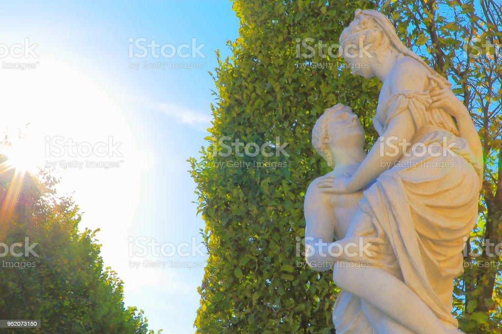 Ornamental Garden Statues At Gold Sunrise In Stadtpark, Vienna Public Park  Royalty Free Stock