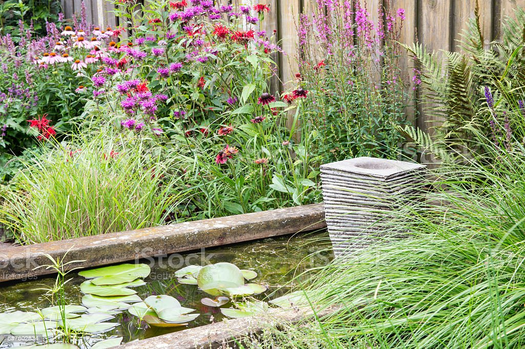 Ornamental garden with pond and little fountain stock photo