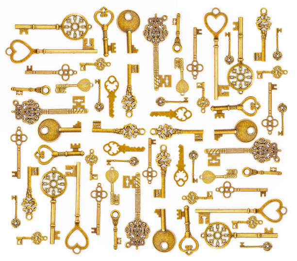 ornamental medieval vintage keys - filigree stock photos and pictures