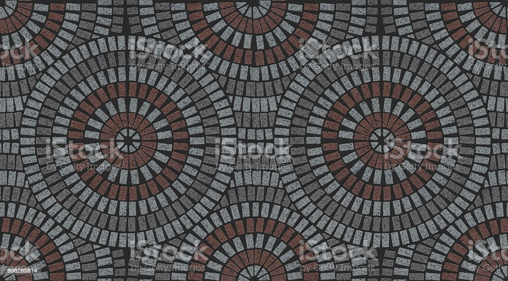 Ornamental Pattern In Patio Paving Variegated Texture Stock Photo