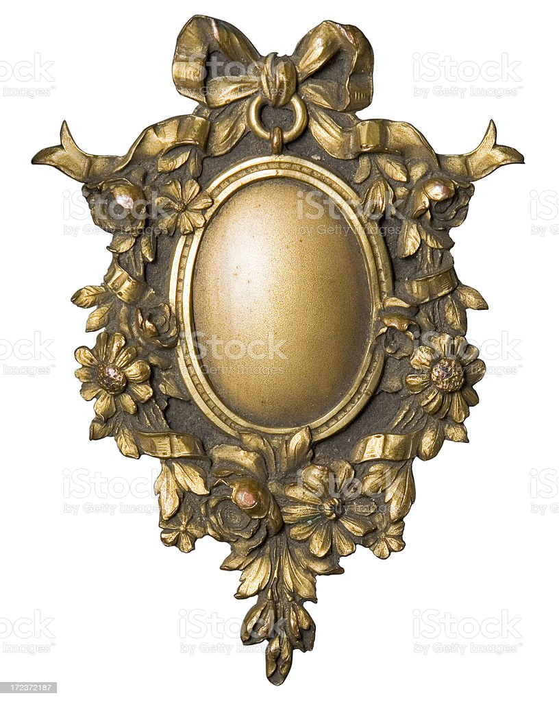 Ornamental picture frame for an oval portrait from bookcover royalty-free stock photo