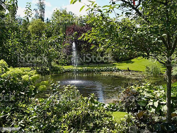 Foto De Ornamental Pond And Water Fountain In A Garden E Mais Fotos De Stock De Ajardinado Istock