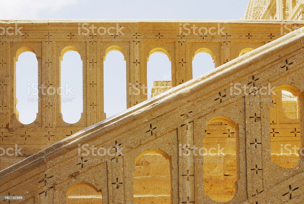 Ornamental sandstone banisters at Indian Temple royalty-free stock photo