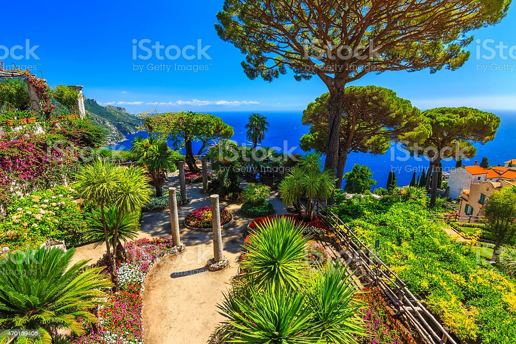 Ornamental suspended garden,Rufolo garden,Ravello,Amalfi coast,Italy,Europe stock photo