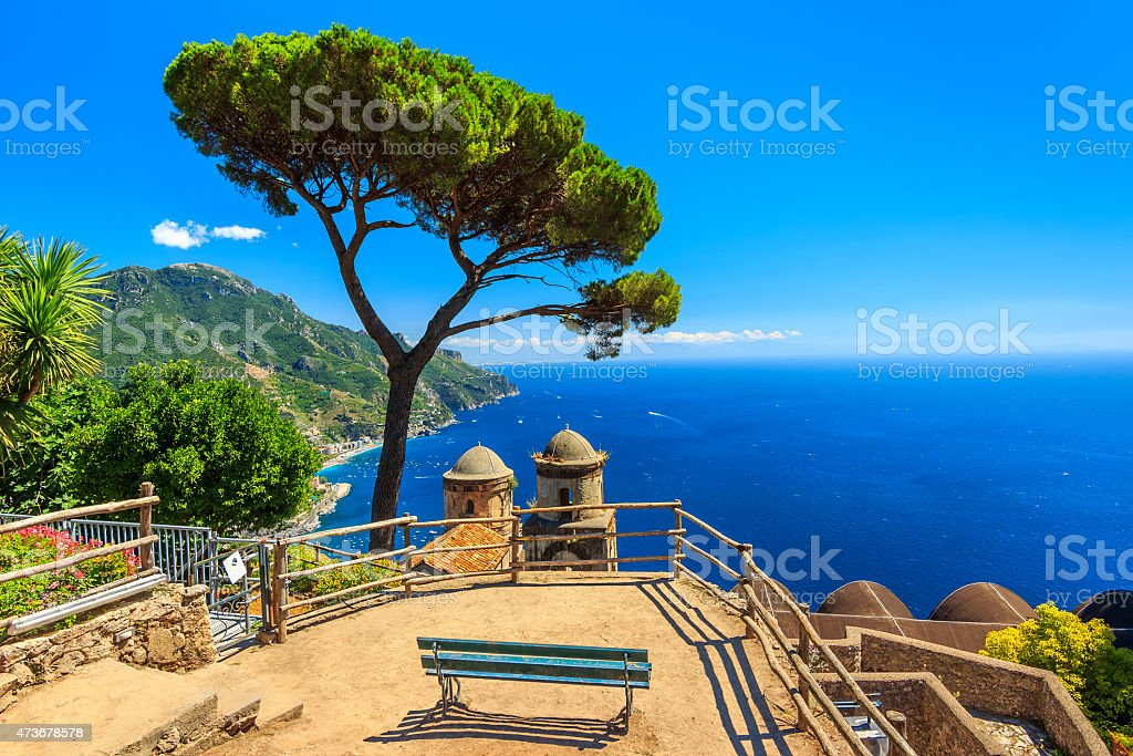 Ornamental suspended garden,Rufolo gardens,Ravello,Amalfi coast,Italy,Europe stock photo