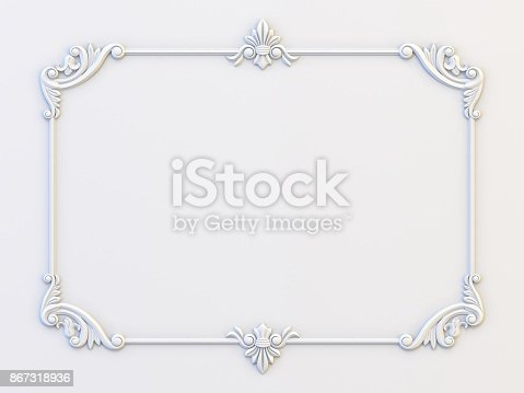 istock Ornamental vintage frames. Floral design template. Page decoration. Birthday card, wedding invitations. 3d rendering 867318936