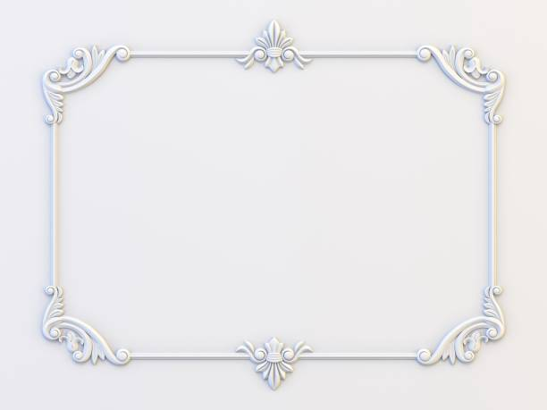 Ornamental vintage frames. Floral design template. Page decoration. Birthday card, wedding invitations. 3d rendering stock photo
