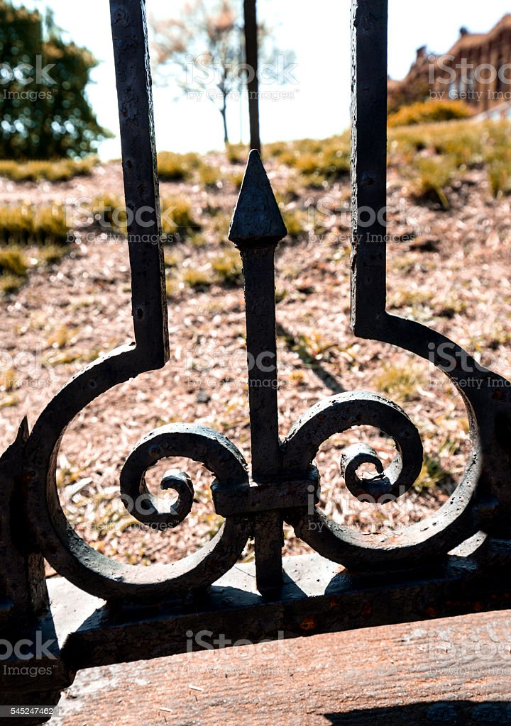 Ornamental wrought iron fence and landscape, Rockville, Connecti stock photo