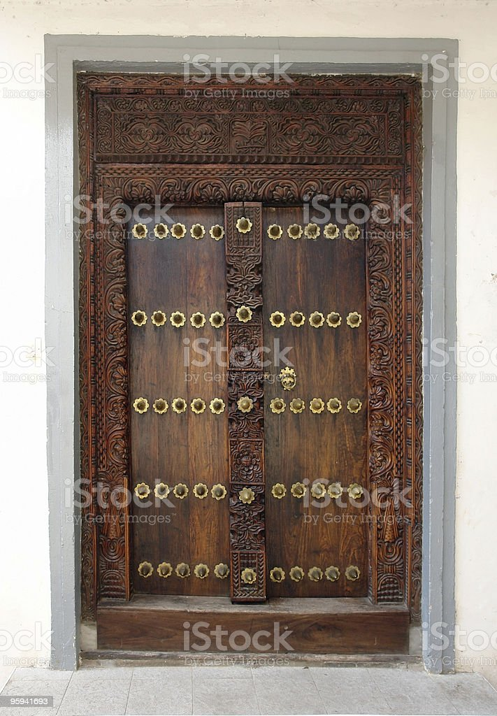 ornamented door in Africa royalty-free stock photo