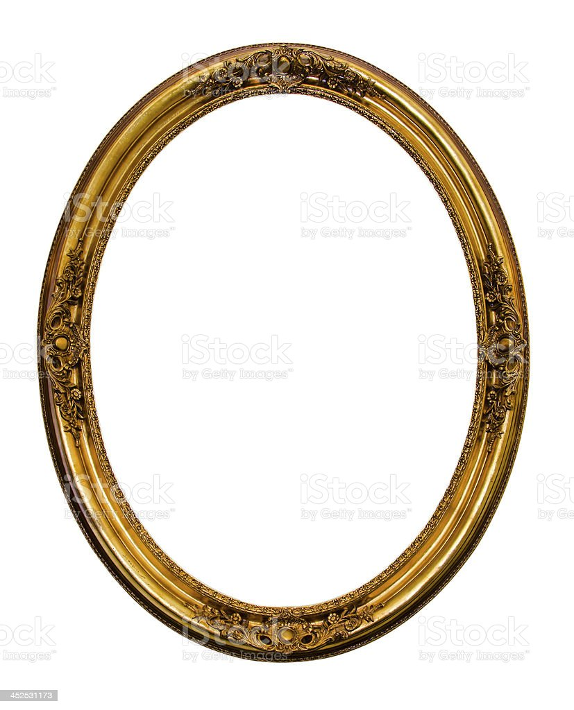 Ornamented gold plated empty picture frame Isolated on white bac royalty-free stock photo