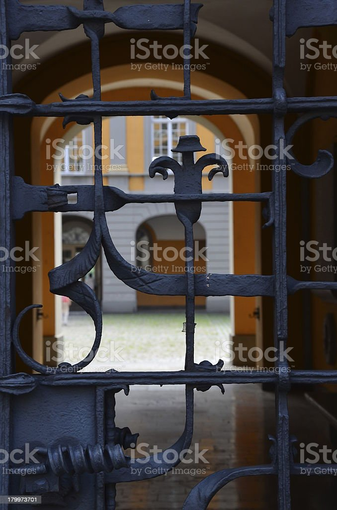 ornamented metal gate stock photo