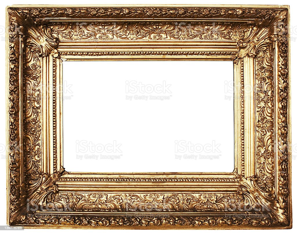 Ornamented Picture Frame Gold (Path Included) royalty-free stock photo
