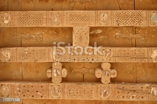 Traditionaly ornamented wooden front door in Shibam, Yemen.