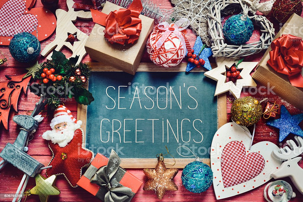 Ornaments and gifts and text seasons greetings stock photo more ornaments and gifts and text seasons greetings royalty free stock photo m4hsunfo
