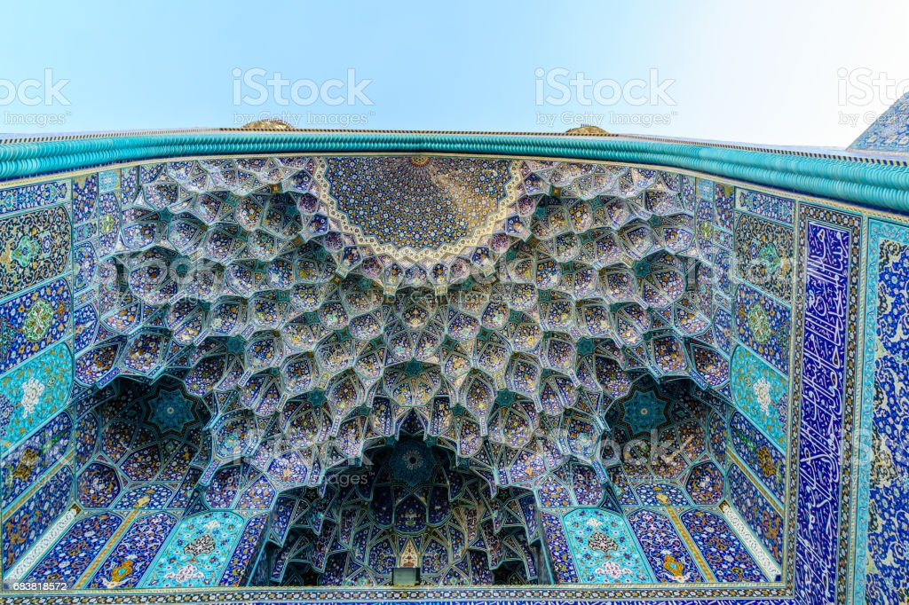 Ornaments of mosque in Iran stock photo