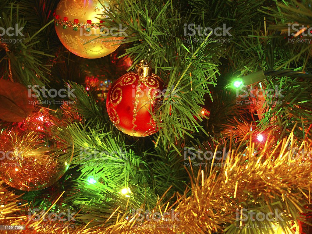 Ornaments on Christmas Tree royalty-free stock photo