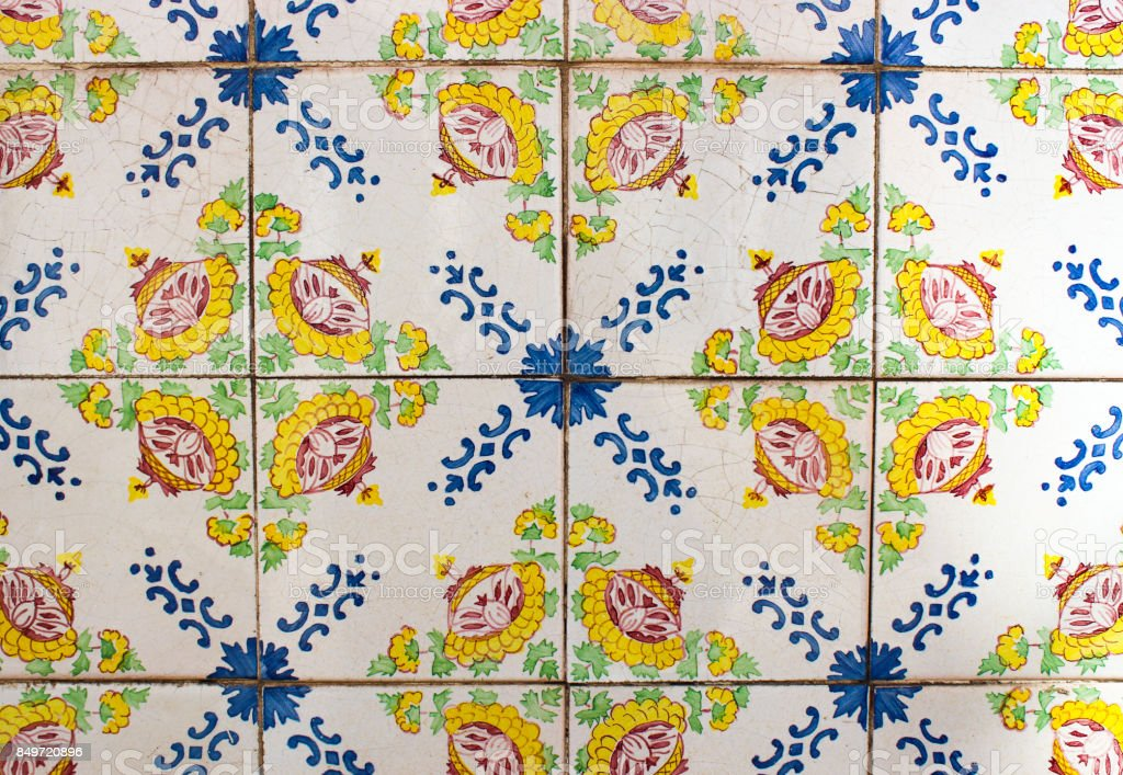 Ornate and colorful tiles on a building in Lisbon stock photo