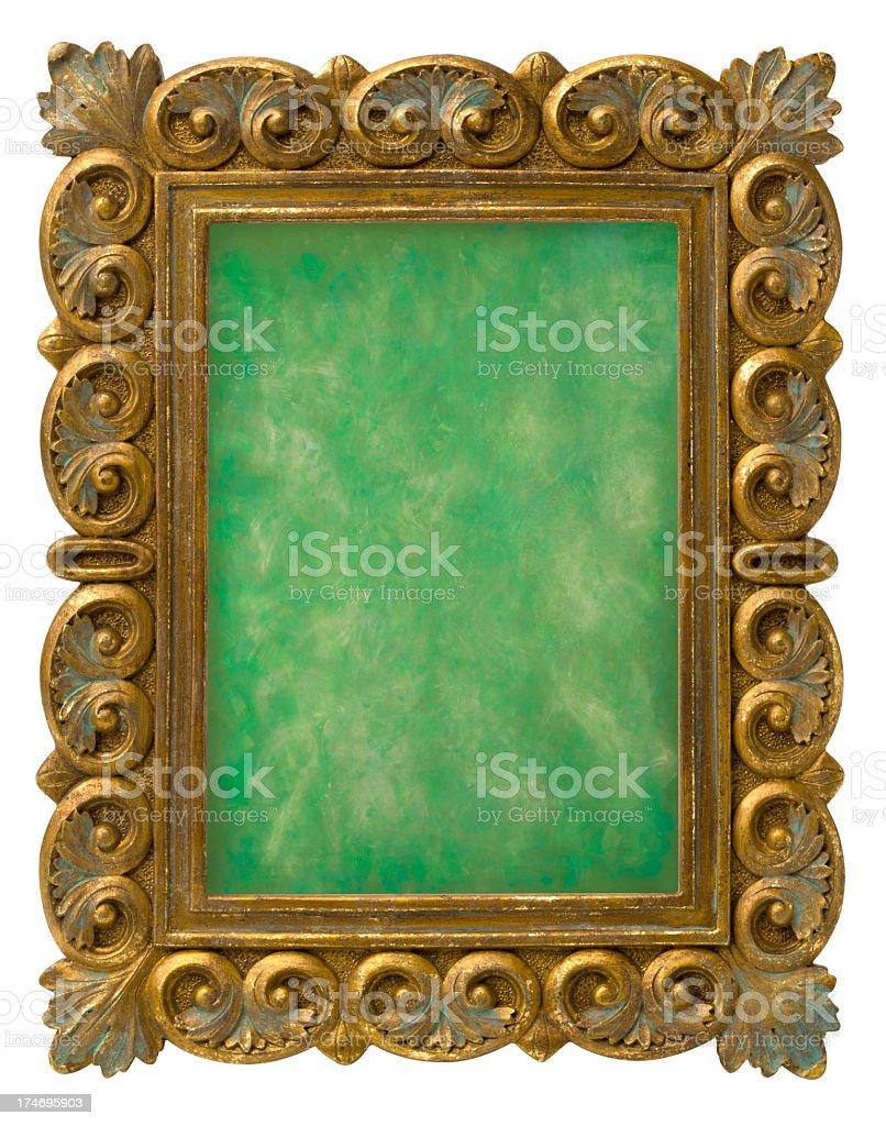 Marco Adornado De Oro Antiguo Fondo Verde Clipping Path Stock Foto e ...