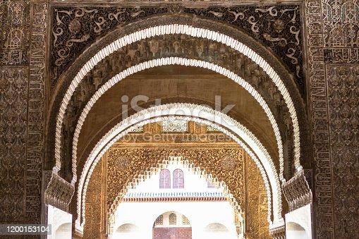 istock Ornate arches in a  Lions patio of Alhambra, Granada, Spain 1200153104