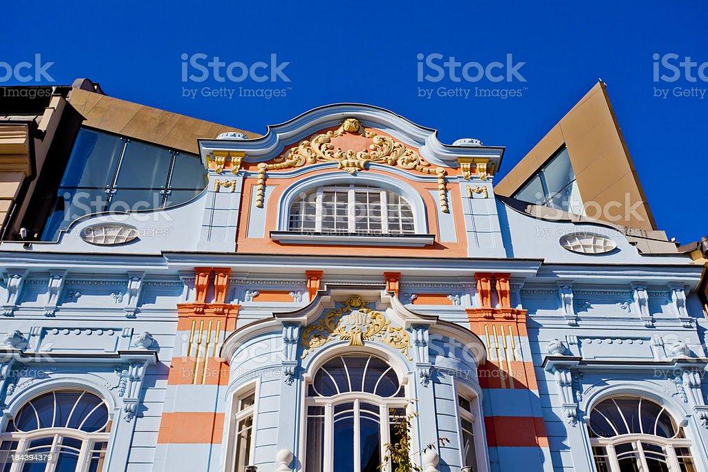 Ornate blue & orange building in Ceske Budejovice, Czech Republic stock photo