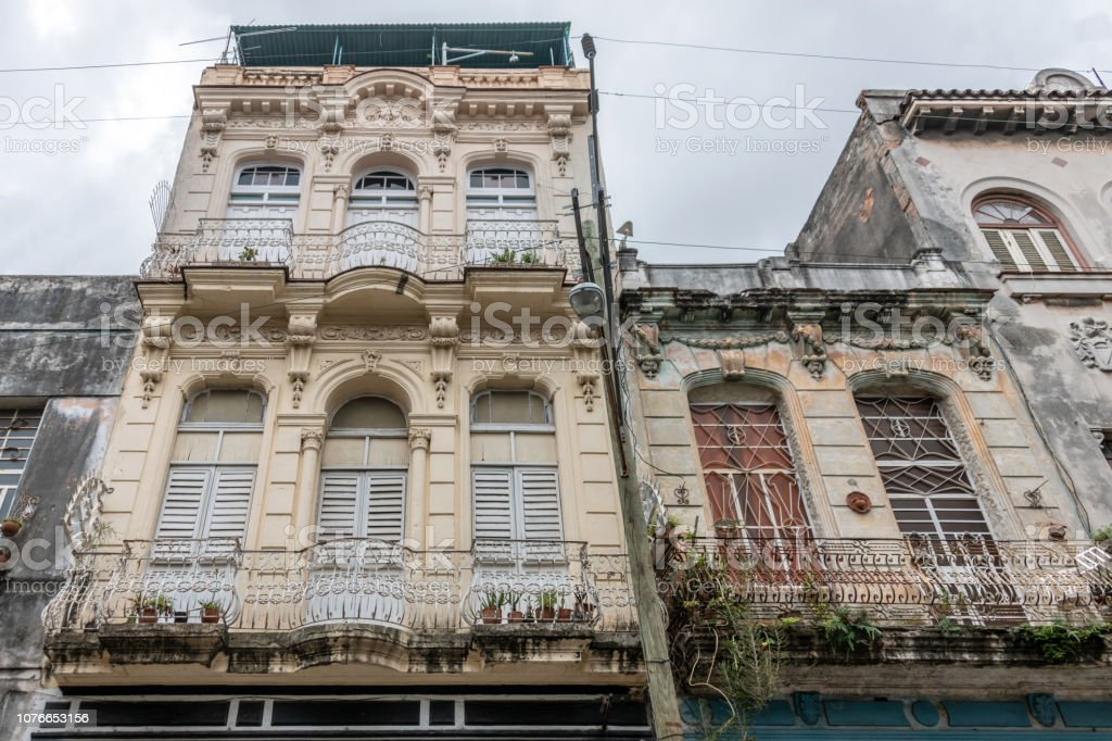 Ornate building facades in old town Havana, Cuba stock photo