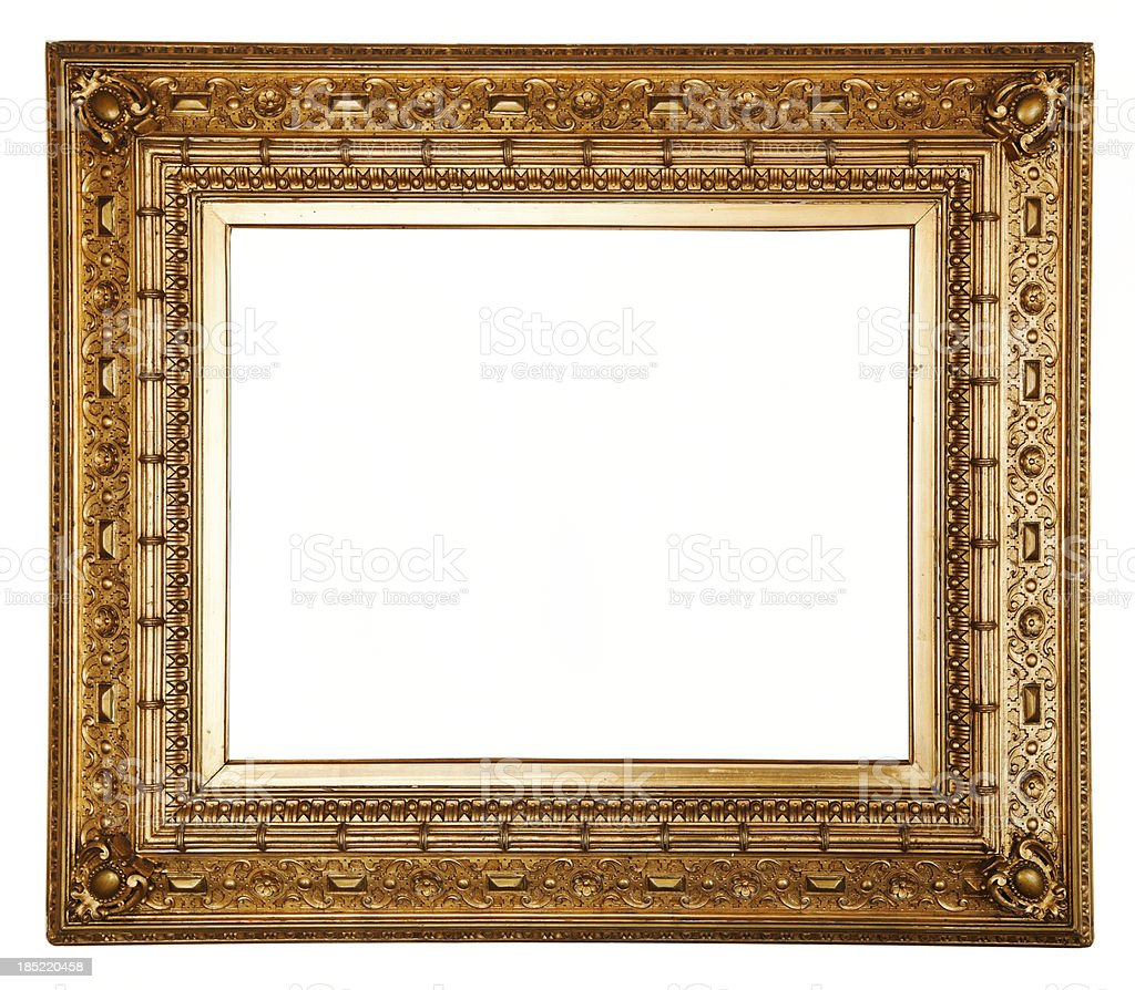 Ornate carved gilded picture frame. stock photo