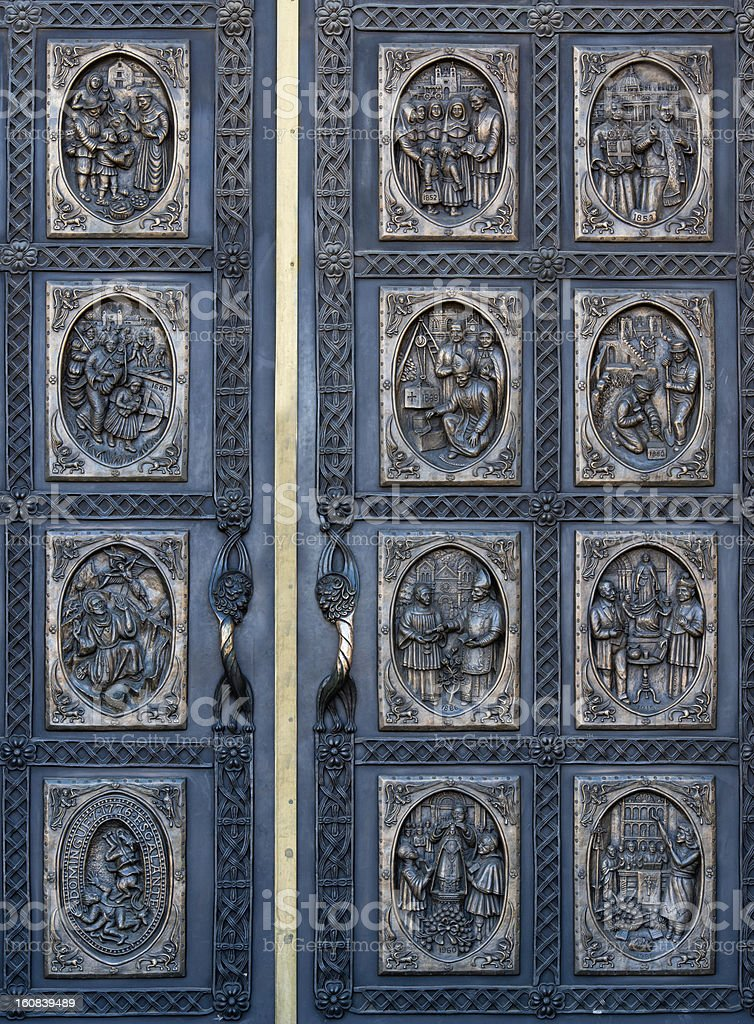 Ornate cathedral door royalty-free stock photo