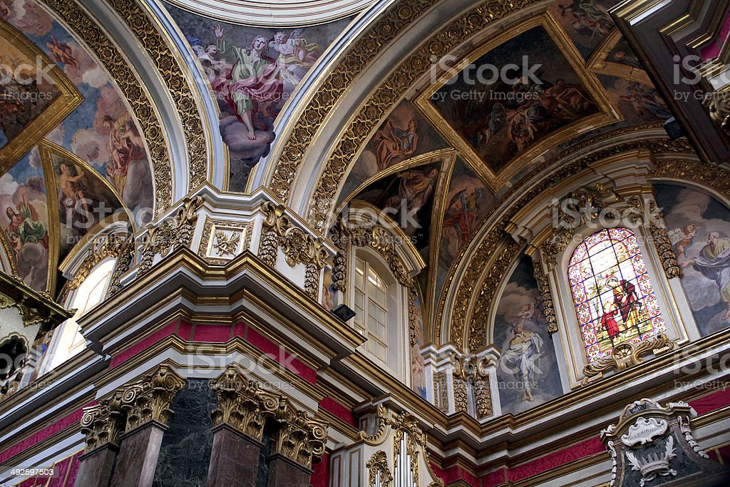 Ornate Ceiling of St. John's Cathedral in Valetta, Malta stock photo