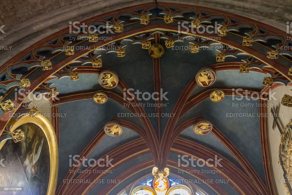 Ornate Ceiling St-Etienne Cathedral Bourges France stock photo