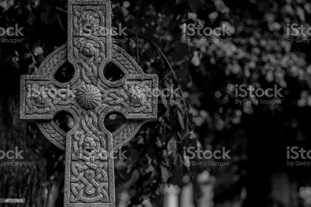 Ornate Celtic Cross In Black And White stock photo