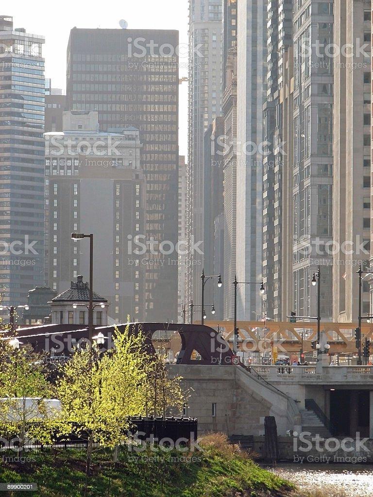 Ornate basculante puentes de la ciudad de Chicago y el centro de la ciudad foto de stock libre de derechos