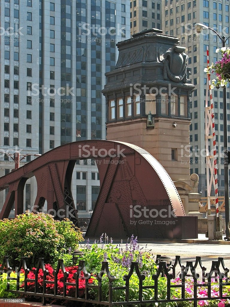 Ornate Chicago Bridge House and Truss stock photo