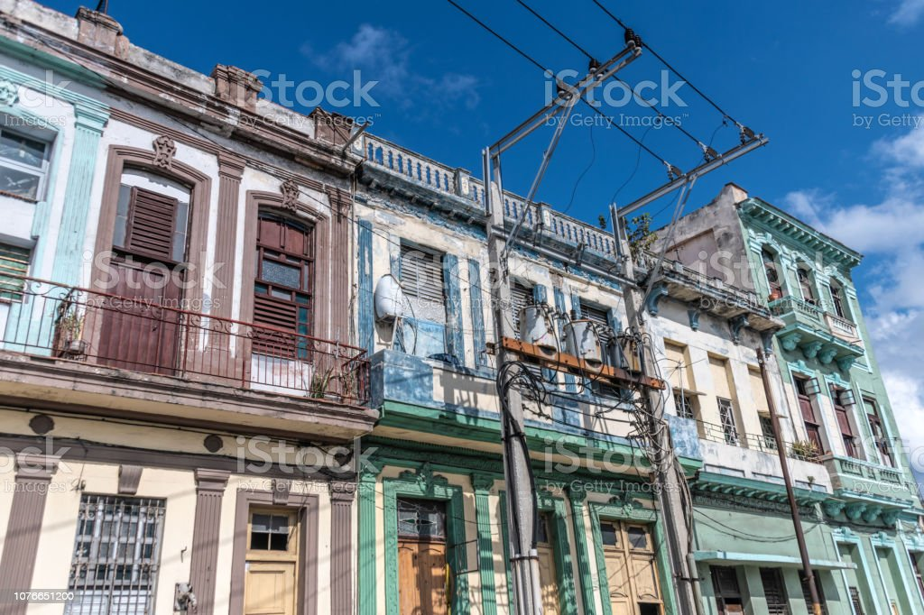 Ornate colourful building facades in old town Havana, Cuba stock photo