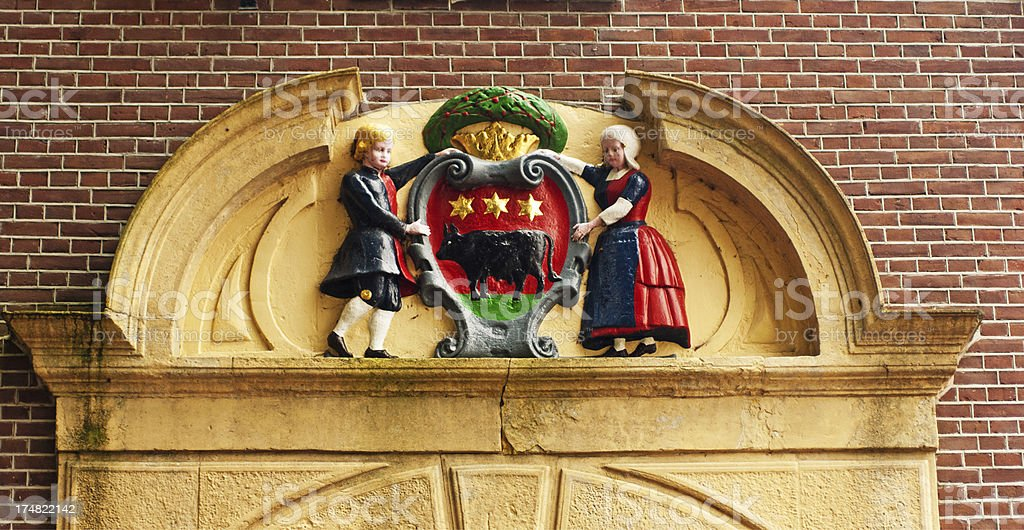 Ornate crest on the City Hall Building in Edam Netherlands. stock photo