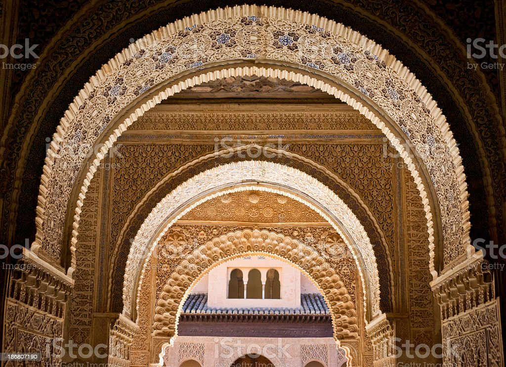 Ornate decoration at Albambra Palace in Granada, Spain stock photo