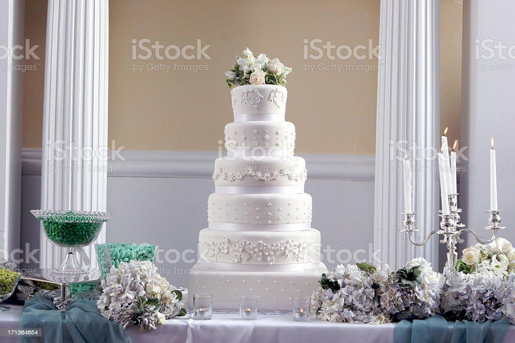 Ornate Decorative Large Tall Fancy Wedding Cake Centerpiece stock photo