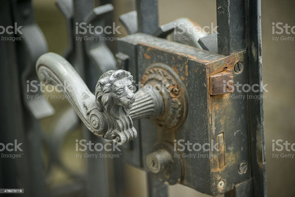Ornate Door Handle in Zurich, Switzerland royalty-free stock photo