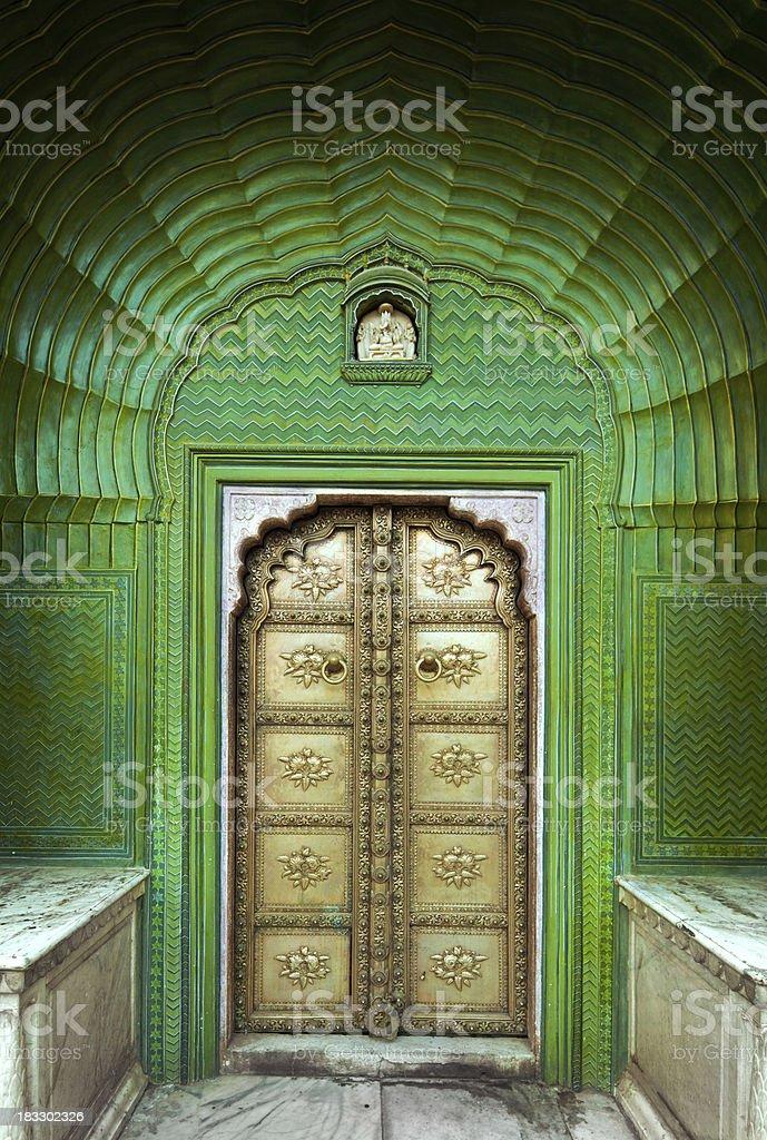 Ornate Door in India stock photo